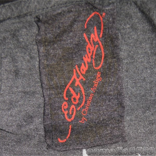 エドハーディー ED HARDY 長袖Tシャツ ユーズド加工 グレー サイズ L 新品 展示品 AA8605_画像2
