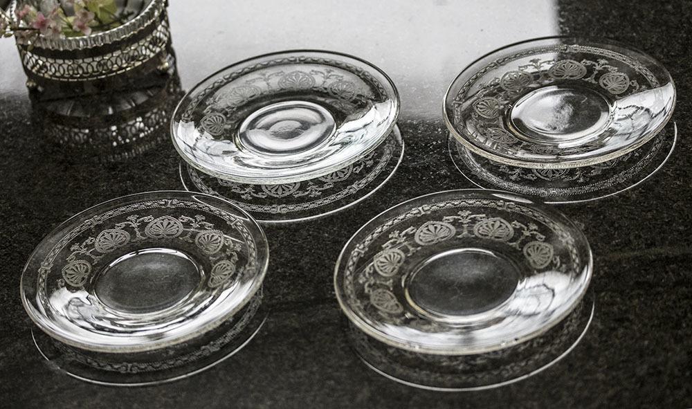 フォストリア エレガント エッチング ケーキ プレート 4枚セット サラダプレート ビンテージ アンティーク アメリカ製