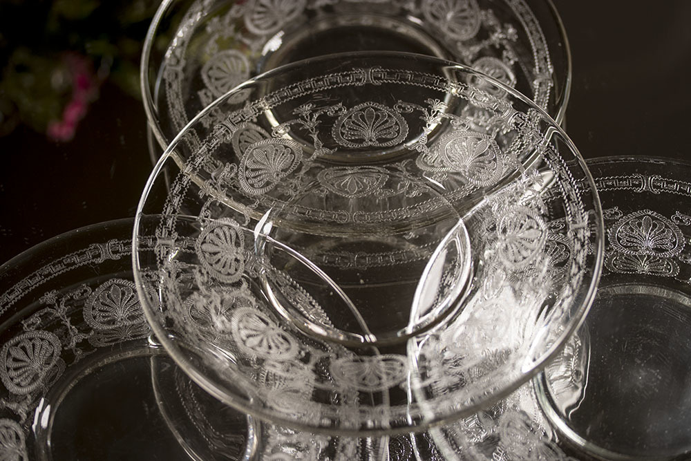 フォストリア エレガント エッチング ケーキ プレート 4枚セット サラダプレート ビンテージ アンティーク アメリカ製_画像3