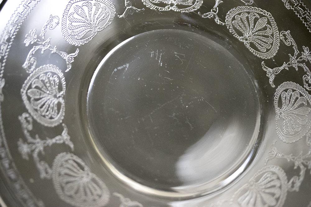 フォストリア エレガント エッチング ケーキ プレート 4枚セット サラダプレート ビンテージ アンティーク アメリカ製_画像5