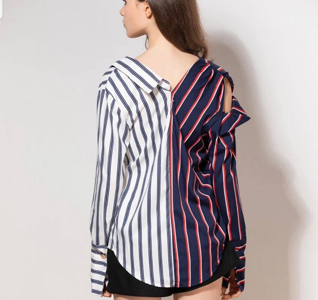ストライプ パッチワーク アシンメトリー ブラウス シャツ ストライプ柄 韓国ファッション
