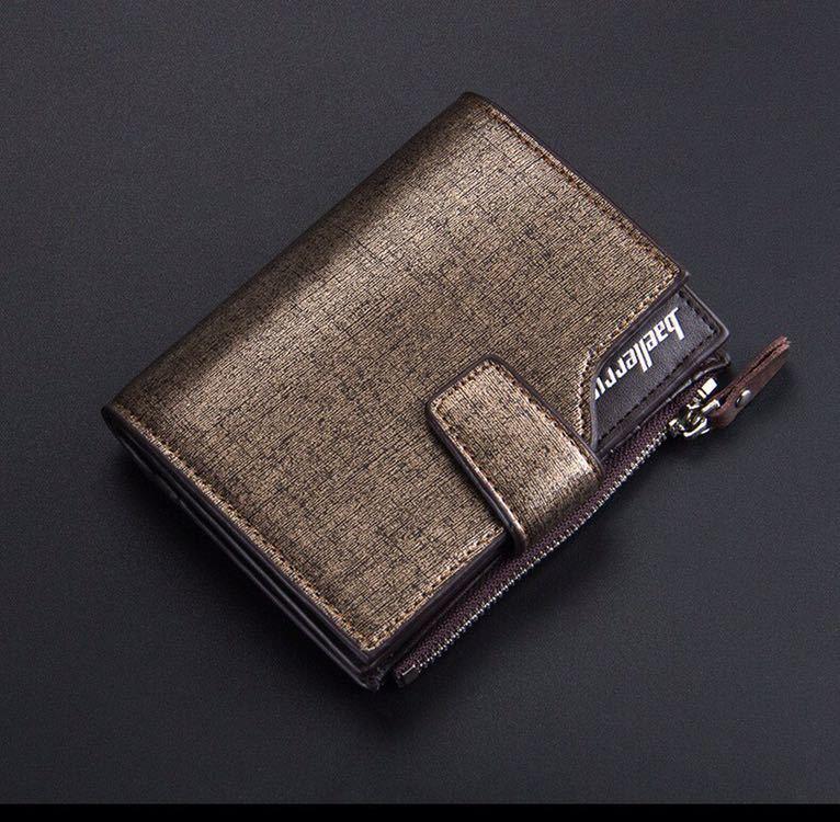 財布 二つ折り財布 レザー お札入れ 小銭入れ カード入れ カードケース 収納 名刺入れ 紳士用 コンパクト ブラウンゴールド 送料無料 17_画像1