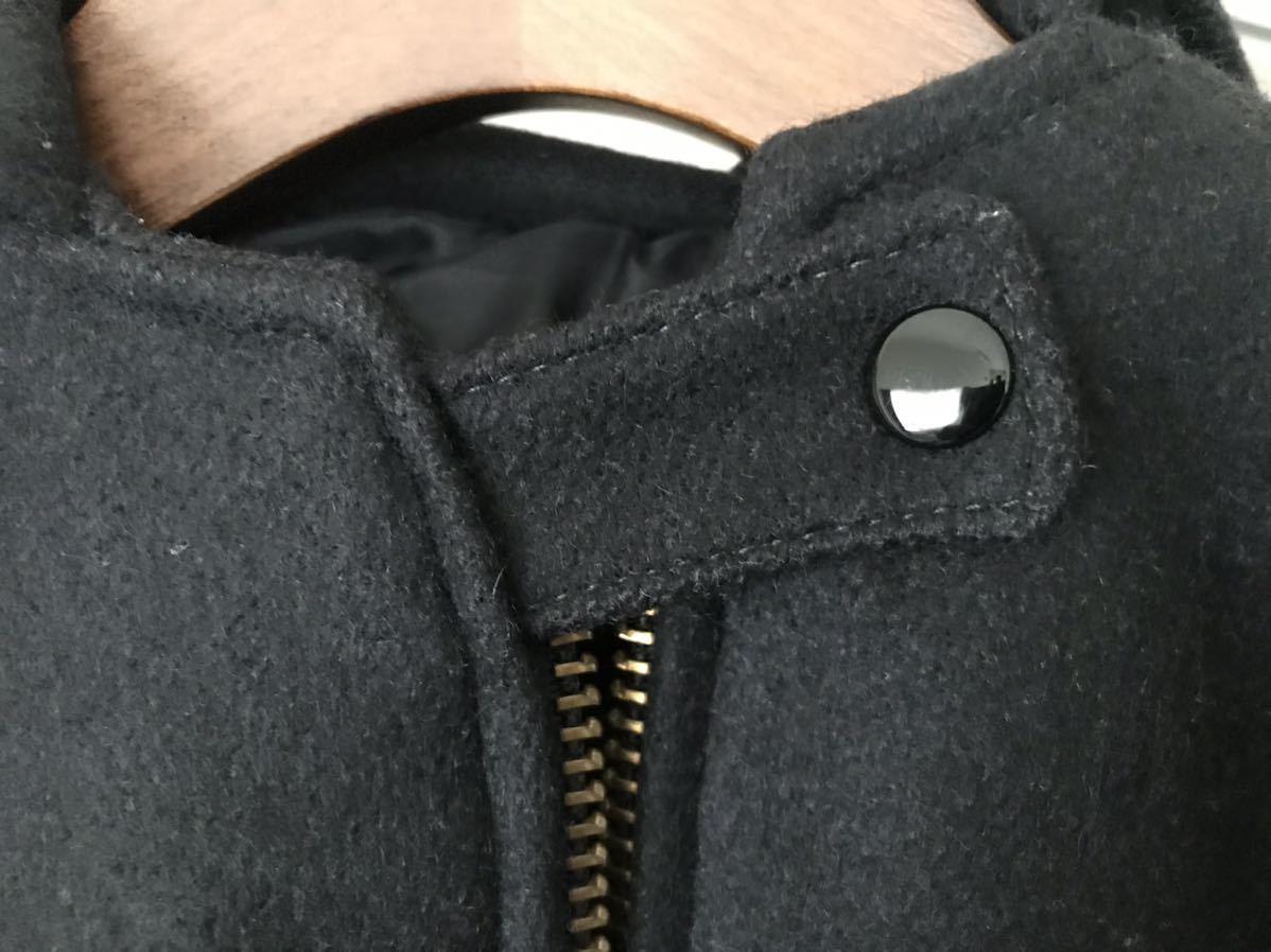 美中古】SKOOKUMスクーカム スタジャン 34 ウール BLK ブラック黒 フード フーディ Wジッパー チン シングル ジャケット USA アメリカ製_画像3