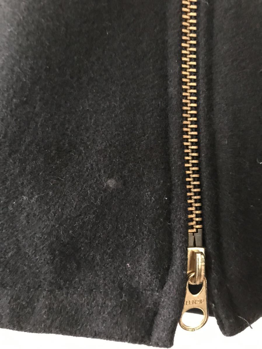 美中古】SKOOKUMスクーカム スタジャン 34 ウール BLK ブラック黒 フード フーディ Wジッパー チン シングル ジャケット USA アメリカ製_画像5