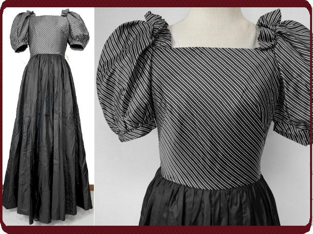 古着♪レトロ・Vintage黒ストライプパフスリーブドレス♪ワンピース70s60s70年代60年代ヴィンテージMS半袖ロングアンティーク衣装即決