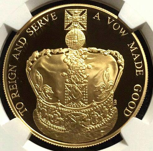 イギリス 2013 エリザベス女王 即位60周年記念 5ポンド NGC PF69 Queen's Coronation クラウン プルーフ 銀貨 GILT 鍍金 英国 送料無料