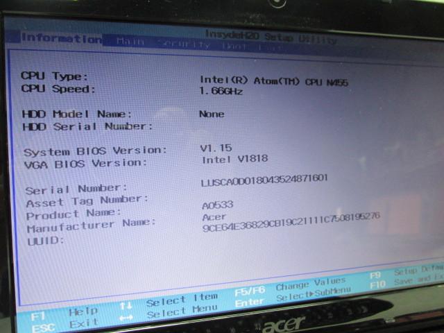 1円~ジャンク☆Acer Aspire one 533-KK3G 1G HDD無(マウント・ネジ)有 バッテリ充電可!収納ケース(中古良品) 部品取りなどに!発送510円_画像2