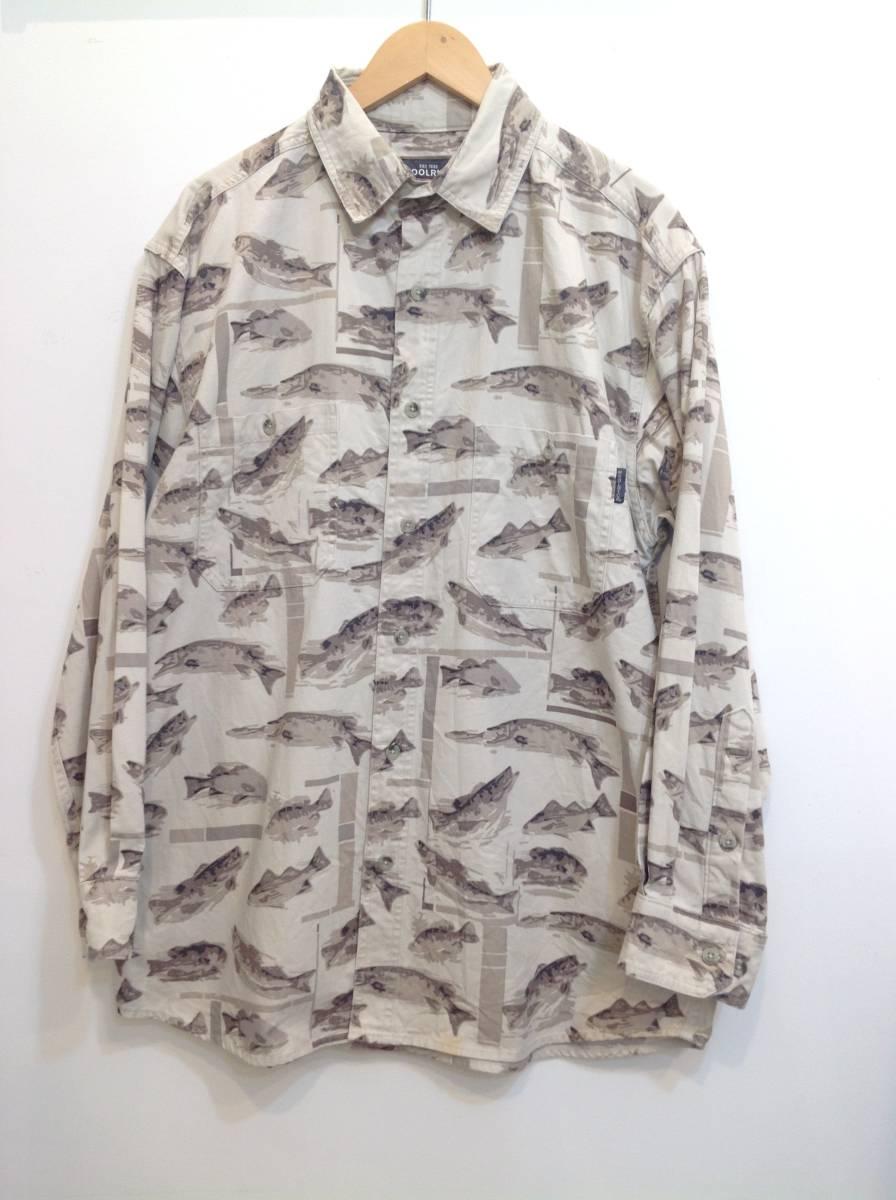 Woolrich ウールリッチ コットン長袖シャツ しっかりめ 魚柄シャツ アウトドアウェア メンズM 結構大きめ 薄いベージュ×茶系 良品綺麗
