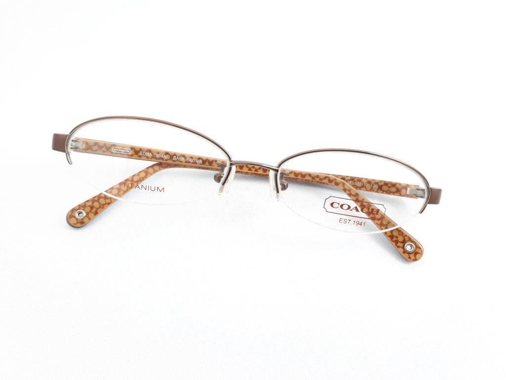 新品《デッドストック》 COACH コーチ EDNA 904AF 51口16-135 DARK BROWN 度付きレンズ無料 眼鏡フレーム_画像1