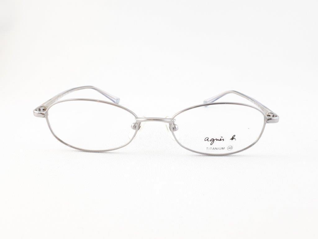 新品《デッドストック》 agnes b アニエスベー AB-1150 CU 48口17-135 シルバー/クリア made in Japan 度付きレンズ無料 メガネ 眼鏡_画像2