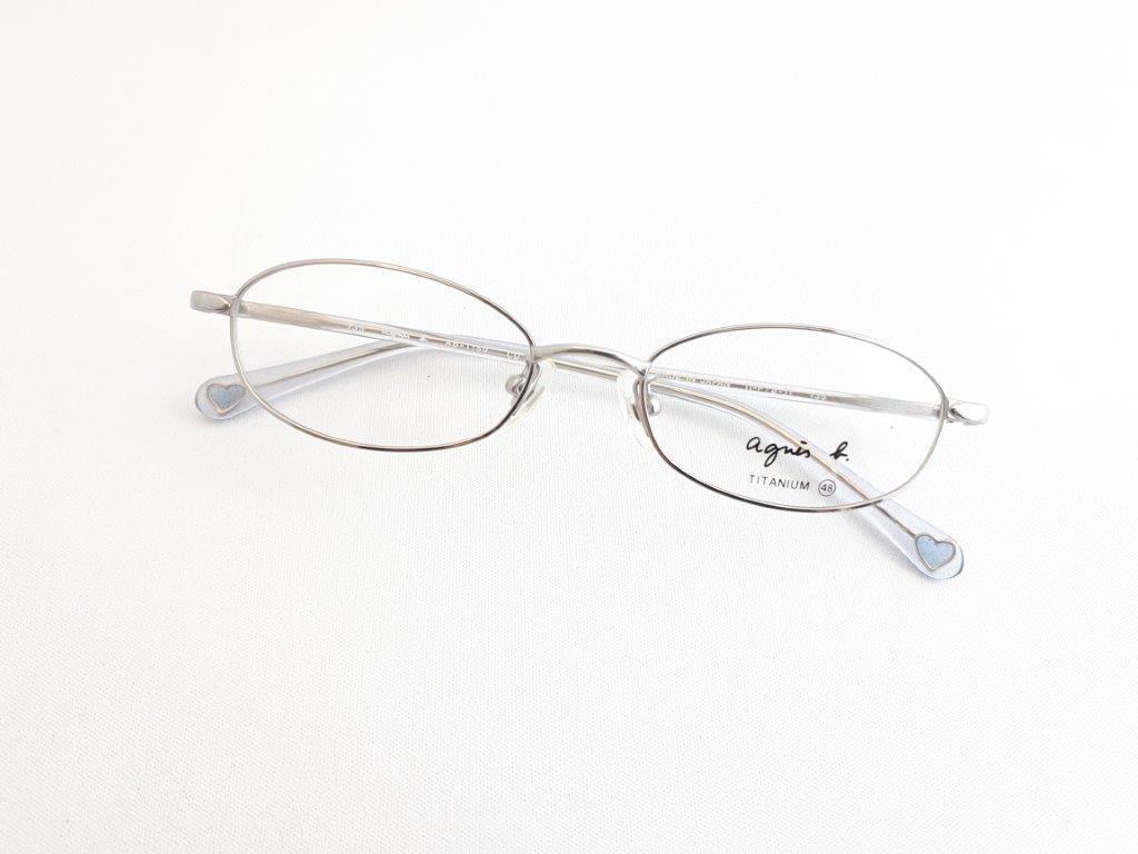 新品《デッドストック》 agnes b アニエスベー AB-1150 CU 48口17-135 シルバー/クリア made in Japan 度付きレンズ無料 メガネ 眼鏡_画像1