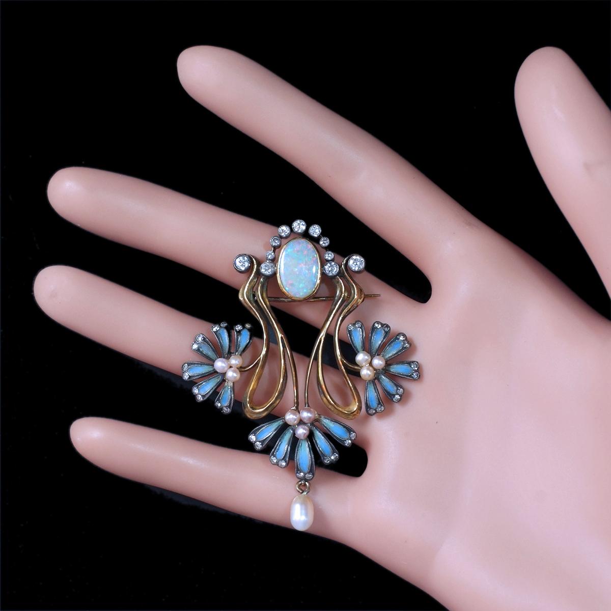 E9813【1900年頃】オパール 天然ダイヤモンド パール 最高級18金無垢アンティークセレブリティブローチ 重量15.38g 幅61.56×47.0mm_画像7