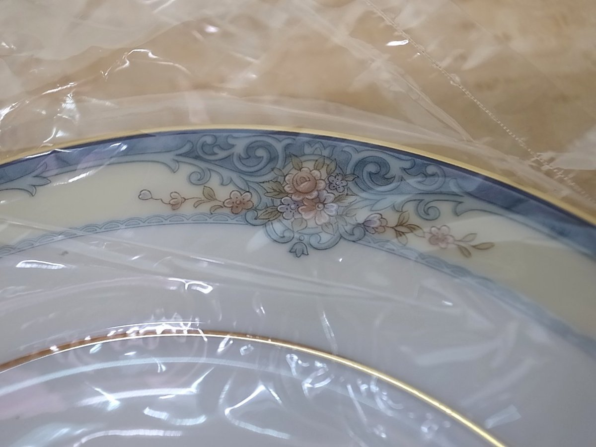 C215 ノリタケ ROSSLYN ボーンチャイナ 皿 プレート 16cm 5枚セット ブルー 花柄 Noritake 未使用品_画像2