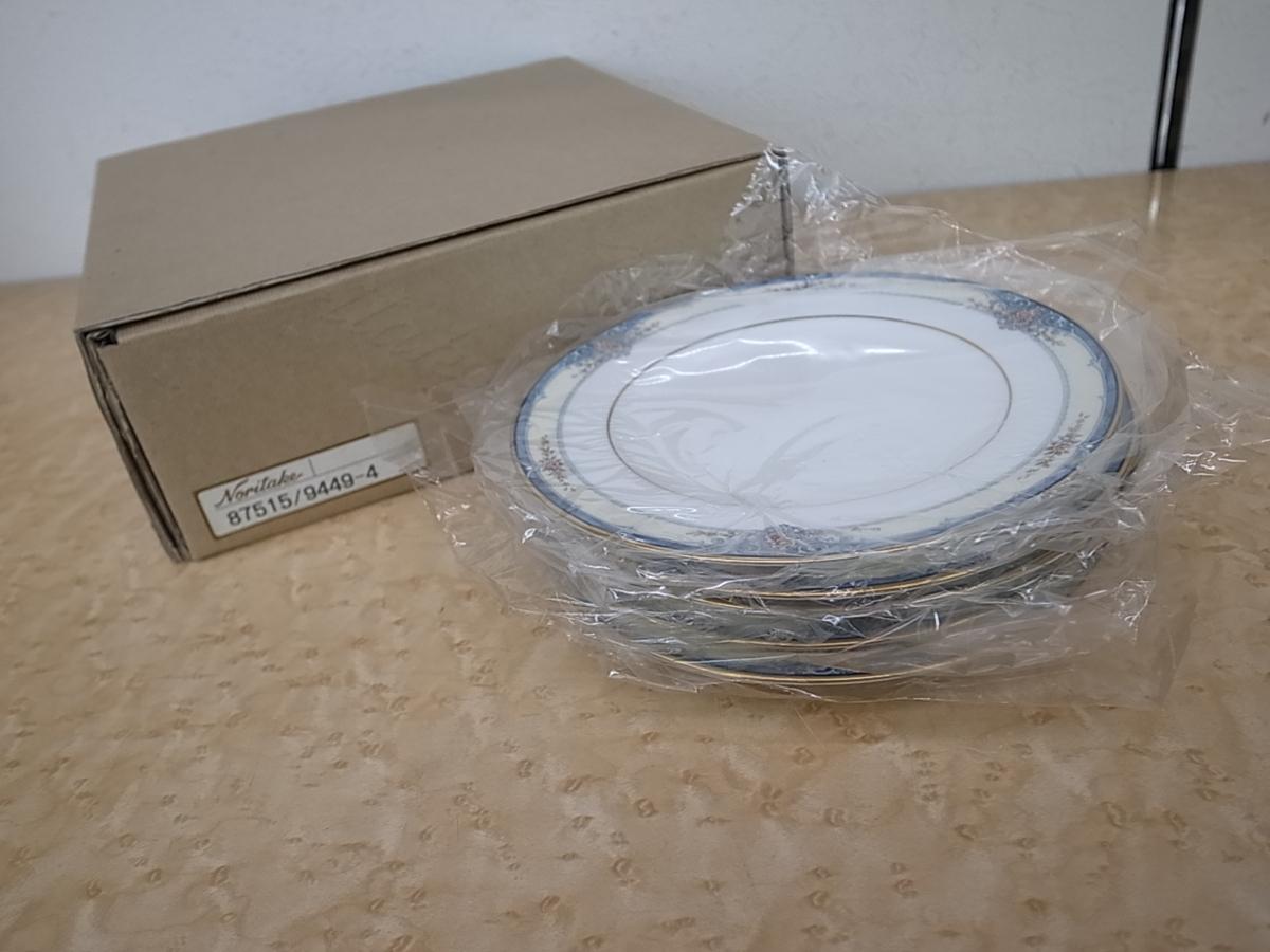 C215 ノリタケ ROSSLYN ボーンチャイナ 皿 プレート 16cm 5枚セット ブルー 花柄 Noritake 未使用品_画像5