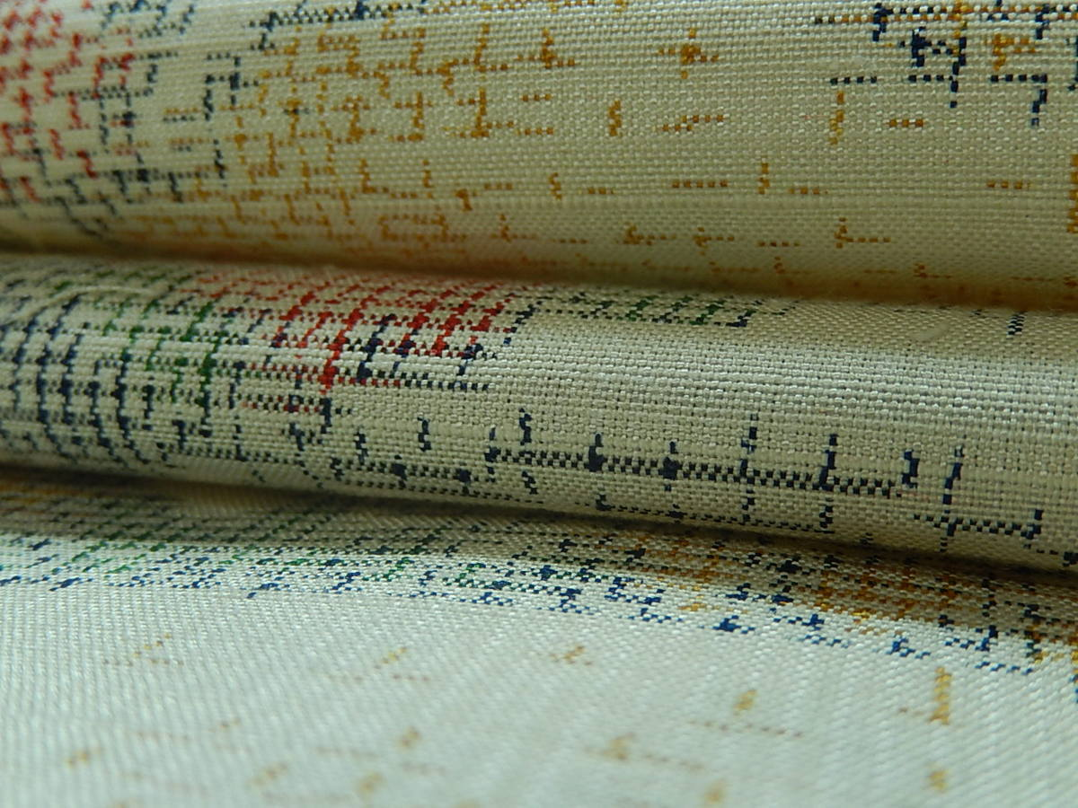 【ひなた】美品 解き 反物 紬 草木染め 着尺 正絹 リメイク材料 文様 模様 ハンドメイド 生地 和柄 古布 和布 洋裁 仕立て直し 2837_画像6