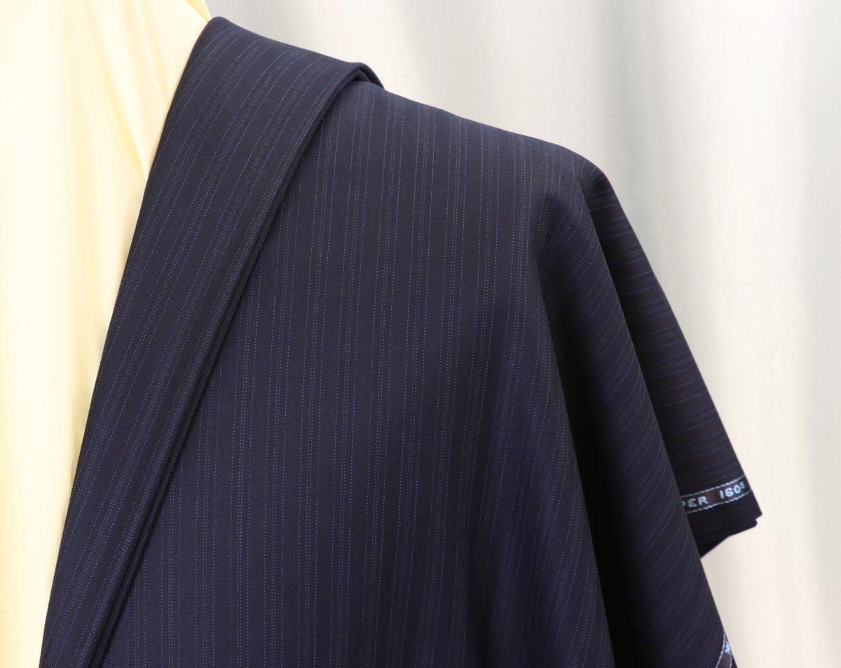 ■スキャバル社「ロイヤルフラッシュ」濃紺に消え入りそうな上品ストライプ・服地価格132万円・心地良さを追求した逸品_画像1