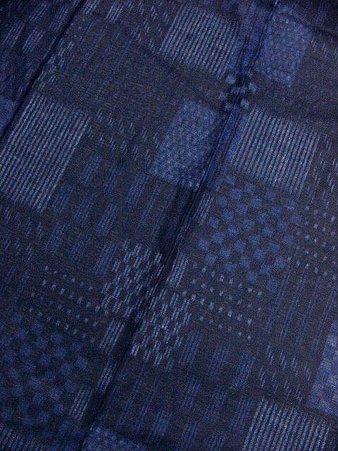 少し透ける 綿紅梅生地 男ゆかた L 濃紺色地・市松の小紋柄 新品_画像3