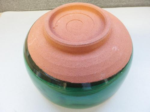 1090449w【陶器製 鉢/在銘/緑と白い花模様のお鉢/銘判読不能】φ1.8×H9.6cm/中古品_画像5