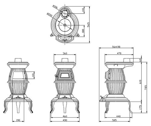 ホンマ製作所鋳物薪ストーブ(ダルマストーブ)/温度計付き新品_画像2