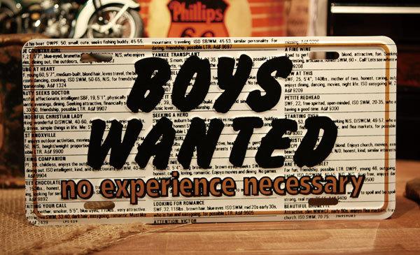 ボーイズ ウォンテッド 看板 ◆ 男子募集 アメリカン プレート 雑貨 CM44_画像1