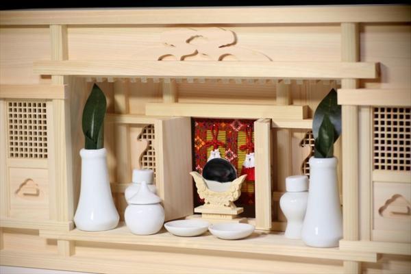 美しい、東濃桧 ■ モダン 箱宮1.5尺 ■ 飾り格子に御簾 ■ 神棚セット_画像3