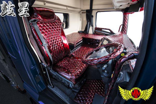 【送料無料】トラック用品 鼓星(オリオン)ダッシュマット エナメルレザー グリーン 三菱ふそう NEWファイター標準 H11/07~ 4t標準_画像3