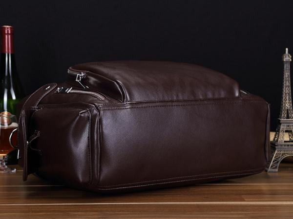 収納抜群 大容量 上質PUレザー メンズ ショルダー付き ボストンバッグ トートバッグ 旅行鞄 出張 14インチPC A4書類収納可 00787 ブラック_画像4