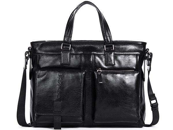 MY BAG ビジネスバッグ 牛革 本革レザー メンズ 14インチPC A4対応 書類かばん 2WAY ショルダーバッグ ブリーフケース 90019-1 ブラック_画像1