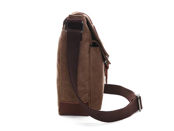 MY BAG ショルダーバッグ 小さめ 高級キャンバス帆布 メンズ 斜め掛け 通学 通勤 書類かばん メッセンジャーバッグ 自転車鞄 8167 コーヒー_細かいまでしっかり作り