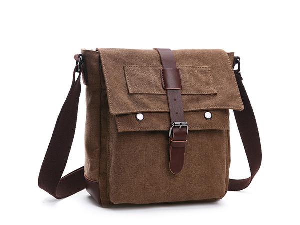 MY BAG ショルダーバッグ 小さめ 高級キャンバス帆布 メンズ 斜め掛け 通学 通勤 書類かばん メッセンジャーバッグ 自転車鞄 8167 コーヒー_格好良いデザイン