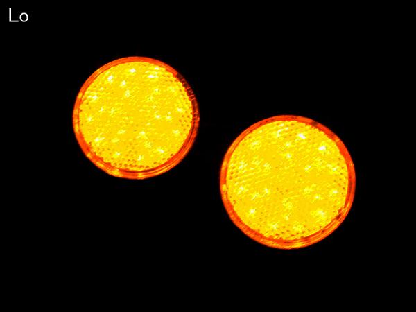 「トレーラーに LED 汎用 リフレクター クリアレンズ アンバー発光 丸型 DC12V Hi/Lo 2段階 F-40」の画像3