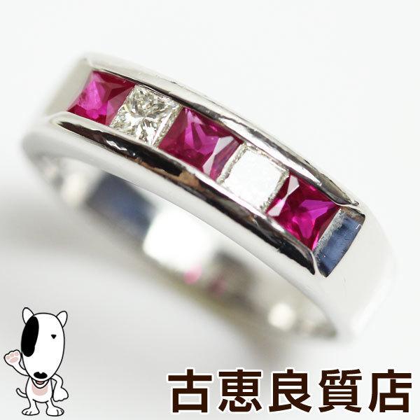 MR1288【中古】Pt900 プラチナ 指輪 ルビー 0.47ct/ダイヤリング 0.17ct 4.8gリング サイズ9号_画像1