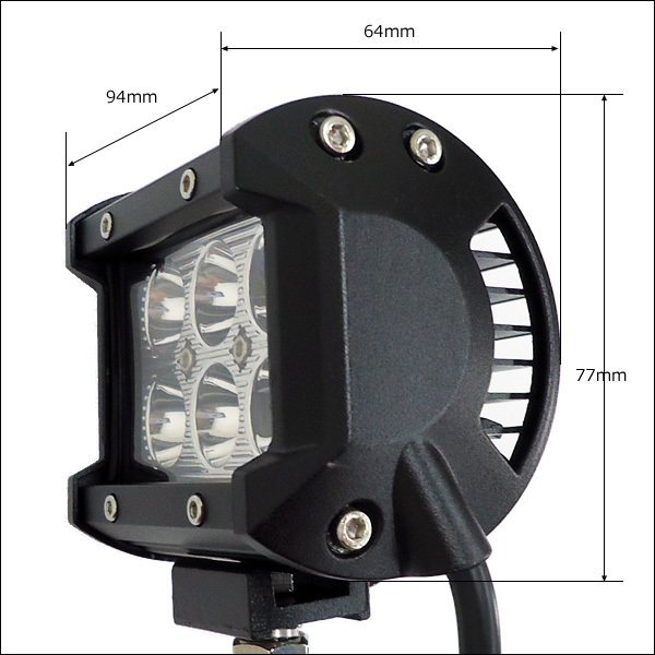 LEDワークライト【2個セット】作業灯 (Y) 18W 12-24v 防水 角型 デッキライト/21Ξ_画像5