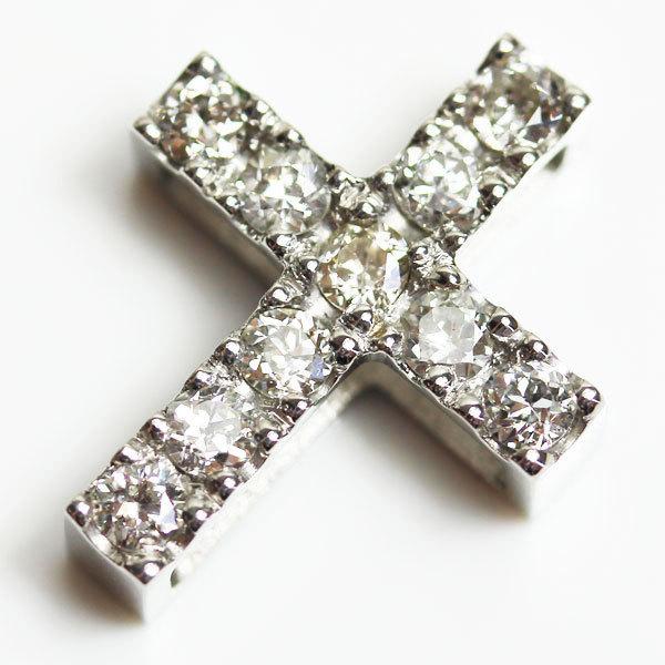 【中古】PT900 クロスダイヤモンドペンダント ダイヤモンド クロスペンダントトップ D0.67 4.1g_画像1