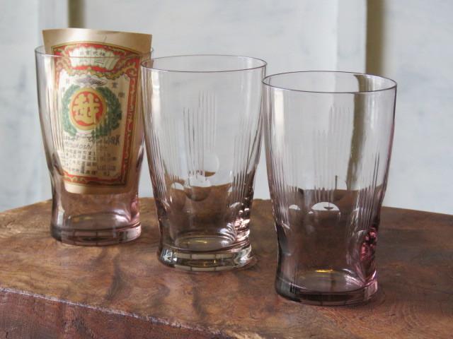 戦前 デッドストック 三越 色ガラス 切子 コップ 3個/アンティーク*ビンテージ*ガラス瓶*時代*和*レトロ*大正ロマン*カフェ*古民家*水玉_画像1