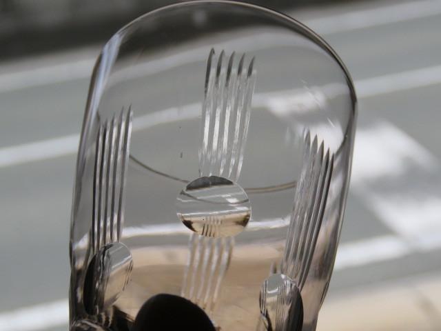 戦前 デッドストック 三越 色ガラス 切子 コップ 3個/アンティーク*ビンテージ*ガラス瓶*時代*和*レトロ*大正ロマン*カフェ*古民家*水玉_画像3