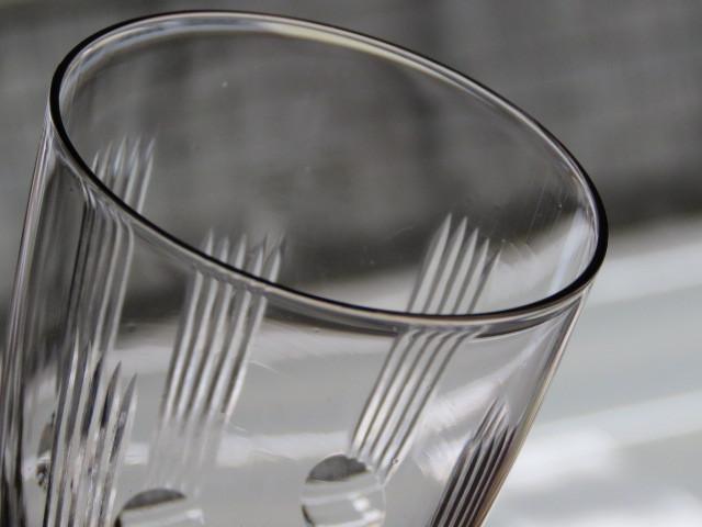 戦前 デッドストック 三越 色ガラス 切子 コップ 3個/アンティーク*ビンテージ*ガラス瓶*時代*和*レトロ*大正ロマン*カフェ*古民家*水玉_画像4