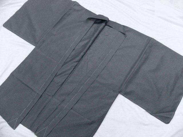仕立て上り・新品 プレタ・メンズ色無地着物・羽織セット LLサイズ アイビーグレイ・カラー_画像8