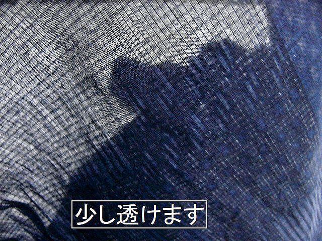 少し透ける 綿紅梅生地 男ゆかた L 濃紺色地・市松の小紋柄 新品_画像7