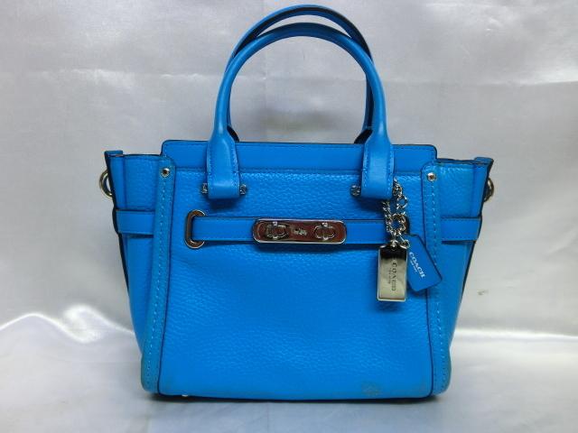 COACH コーチ スワッガー27 ブルー レディース 保存袋付き_画像1