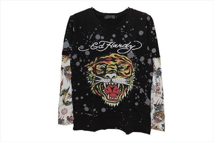 エドハーディー ED HARDY メンズ長袖Tシャツ M03VDS091 ブラック Lサイズ TIGER 新品_画像1