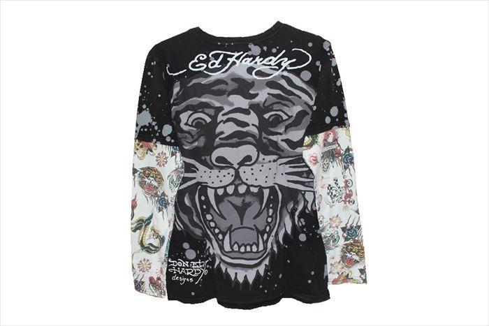 エドハーディー ED HARDY メンズ長袖Tシャツ M03VDS091 ブラック Lサイズ TIGER 新品_画像3
