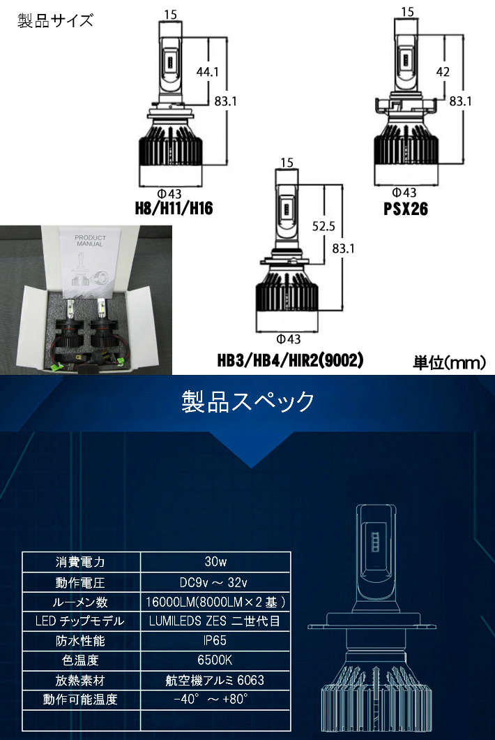 最強発光伝説16000LM LEDフォグランプ セット 爆光【 ライフ JC1.2 H22.11~H26.04 H8/H11/H16 】車種別設定 6500k_画像6