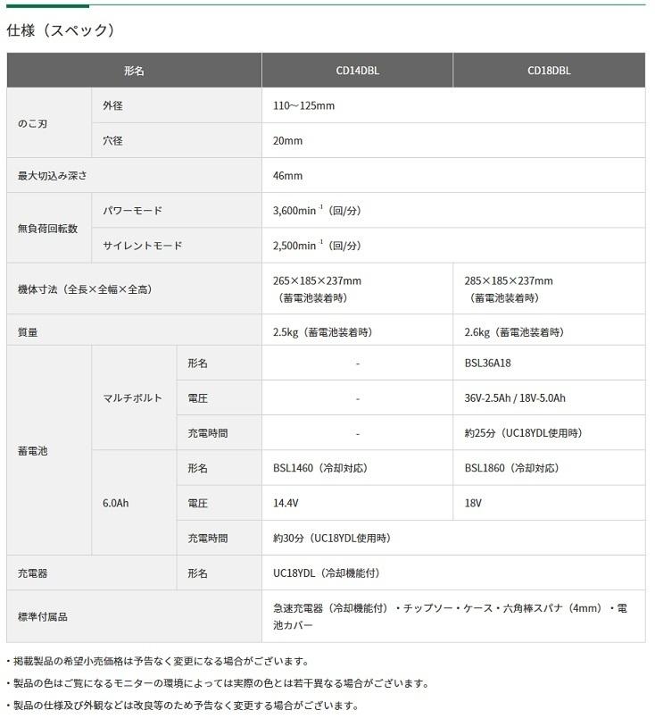 新品■HiKOKI(旧日立工機) コードレスチップソーカッタ CD18DBL(LXPK) マルチボルトバッテリ1個+急速充電器+ケース 18Vハイコーキ_画像3