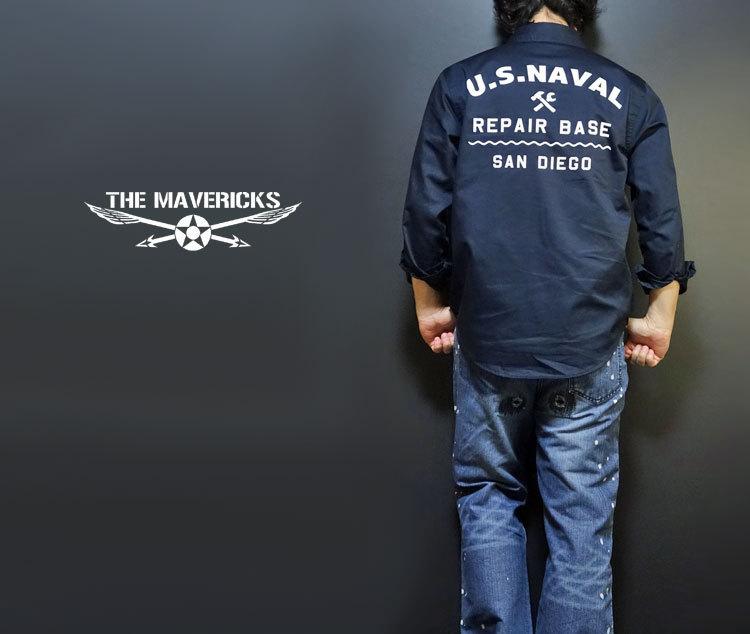 THE MAVERICKS 長袖 ワークシャツ XXL 米海軍 REPAIR BASE モデル 紺 ネイビー_画像3