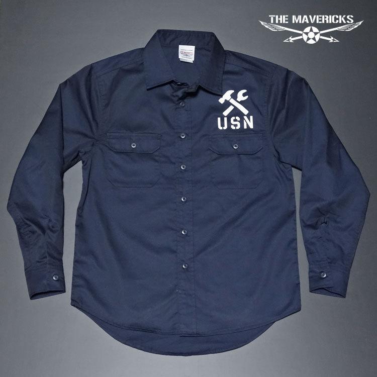THE MAVERICKS 長袖 ワークシャツ XXL 米海軍 REPAIR BASE モデル 紺 ネイビー_画像4