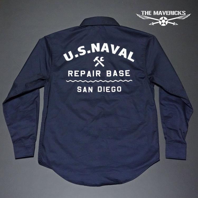 THE MAVERICKS 長袖 ワークシャツ XXL 米海軍 REPAIR BASE モデル 紺 ネイビー_画像5