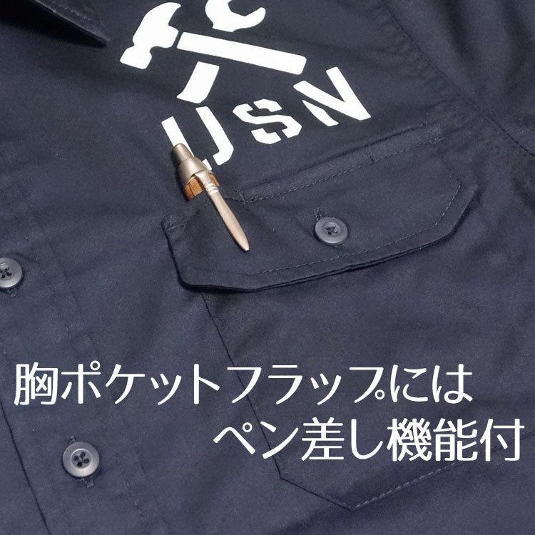 THE MAVERICKS 長袖 ワークシャツ XXL 米海軍 REPAIR BASE モデル 紺 ネイビー_画像6