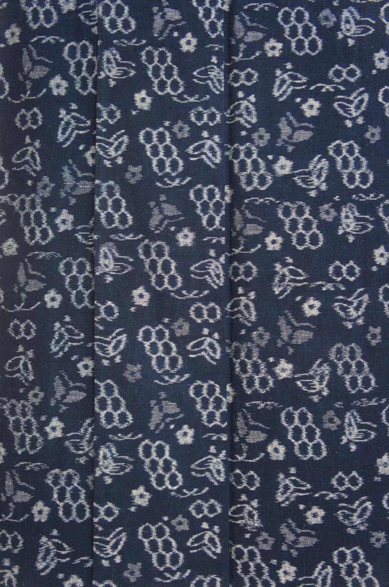 木綿正藍久留米絣藍色地蝶模様単衣美品[T11680]_木綿正藍久留米絣藍色地蝶模様単衣美品