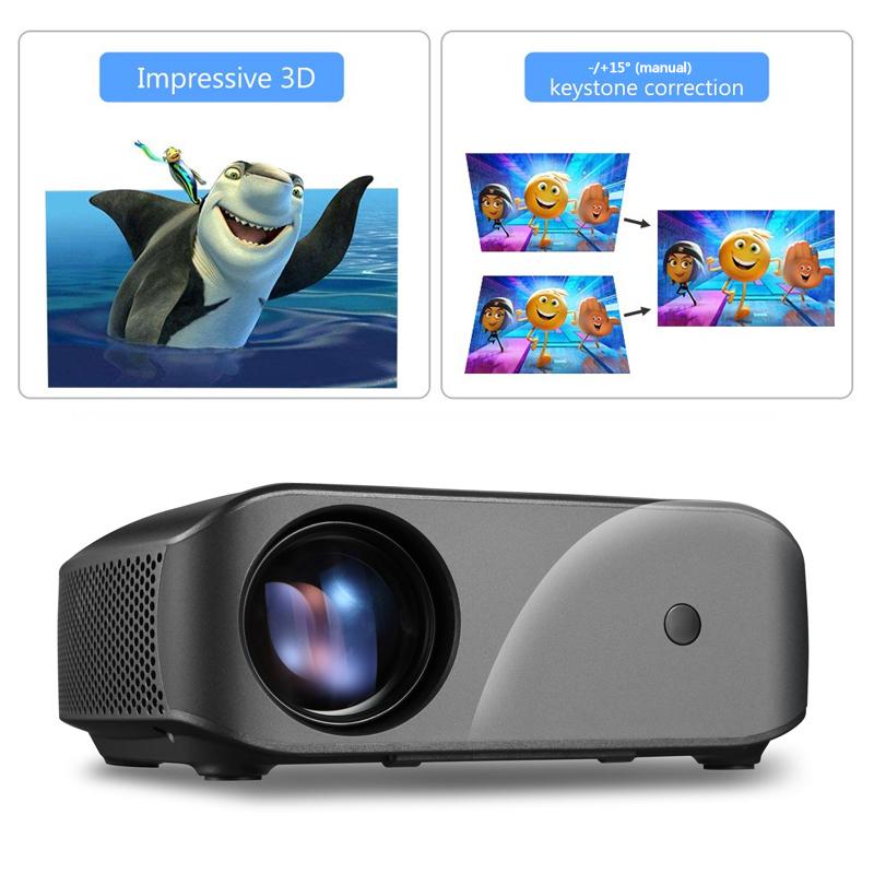MINIプロジェクター2800ルーメンHDビデオビーマーLEDプロジェクターホームシネマサポート1080p HD F10UP-FS_画像2